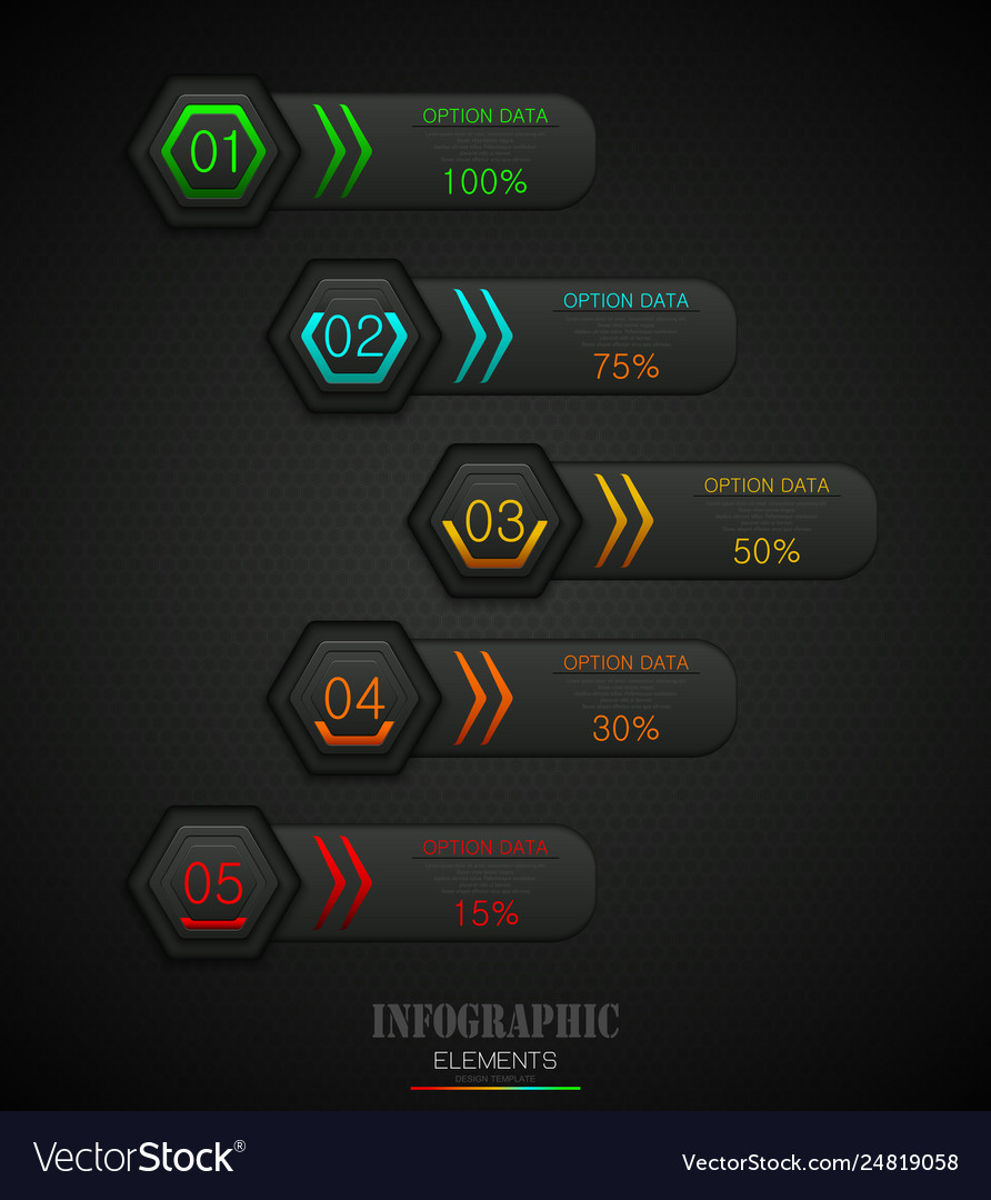 Infographics business template concept with 5 opti