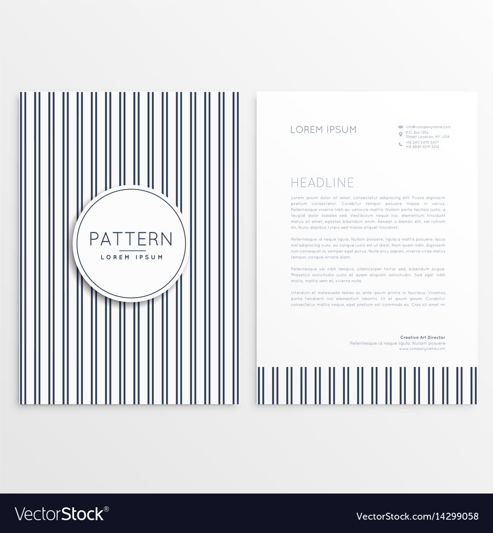 Letterhead template with verticle lines pattern vector image