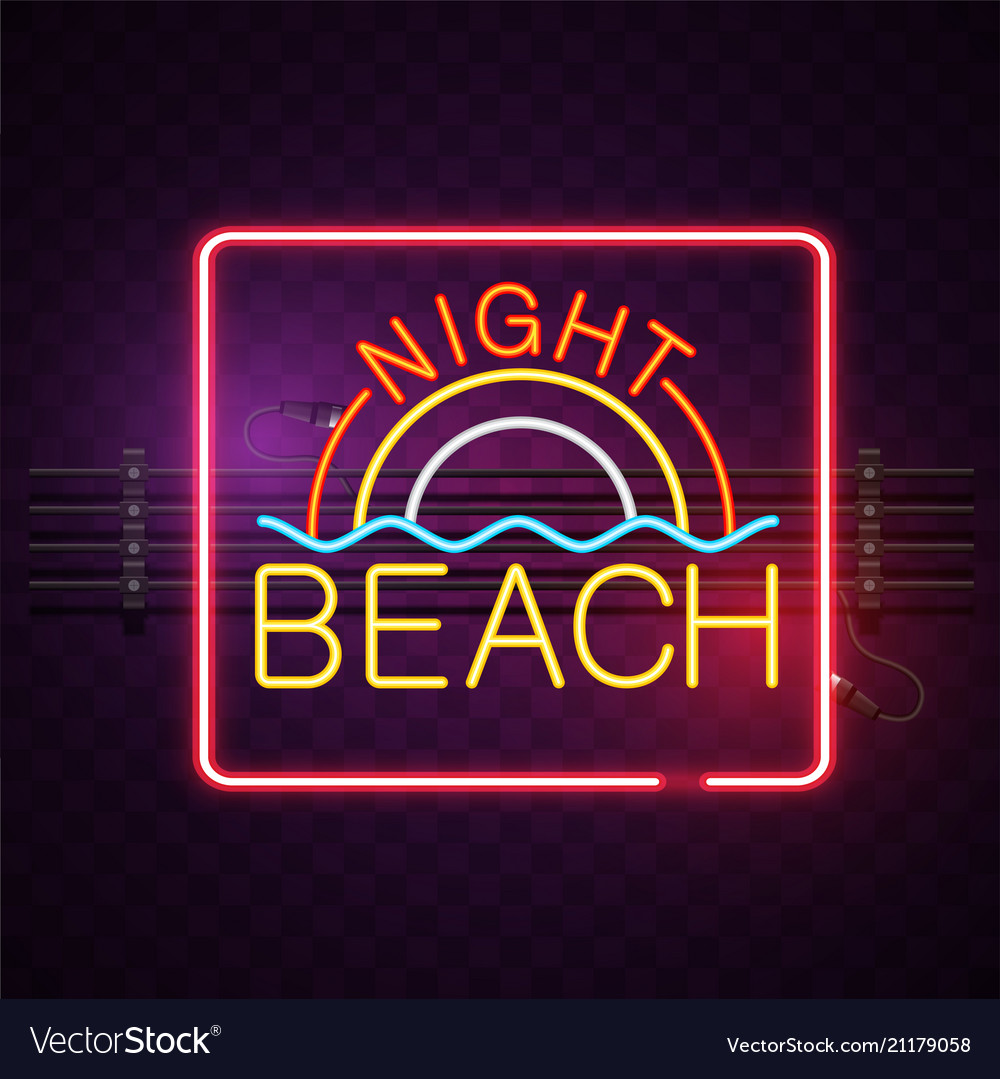 Night beach neon square frame purple background ve