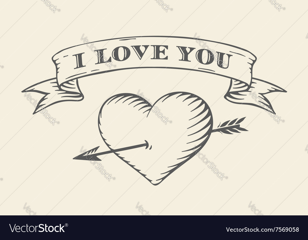 Old ribbon with message I love you heart and vector image