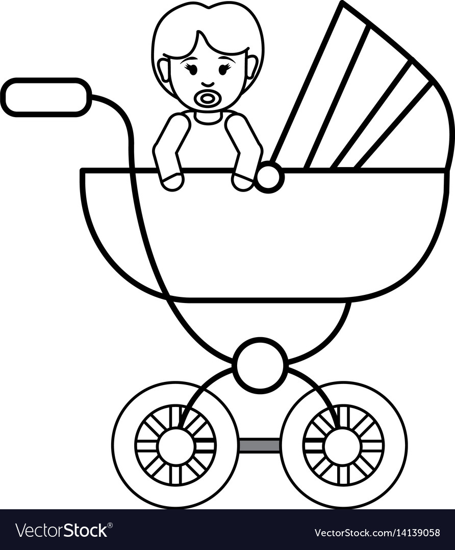 Silhouette baby girl inside carriage icon