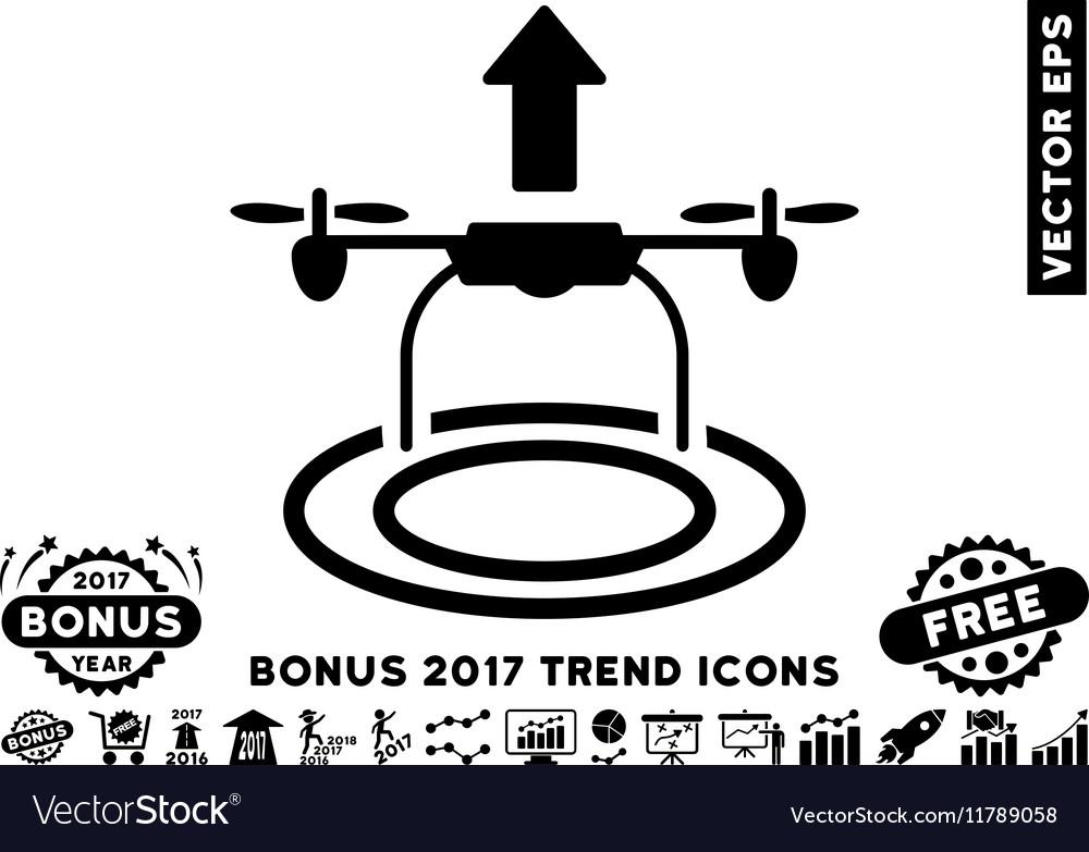 Start Drone Flat Icon With 2017 Bonus Trend vector image