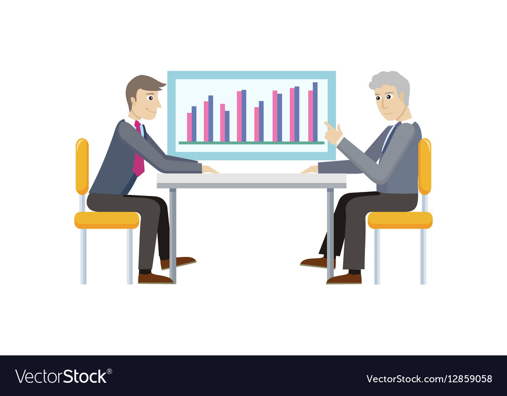 Two Strategic Management Managers Demonstrate Sale vector image