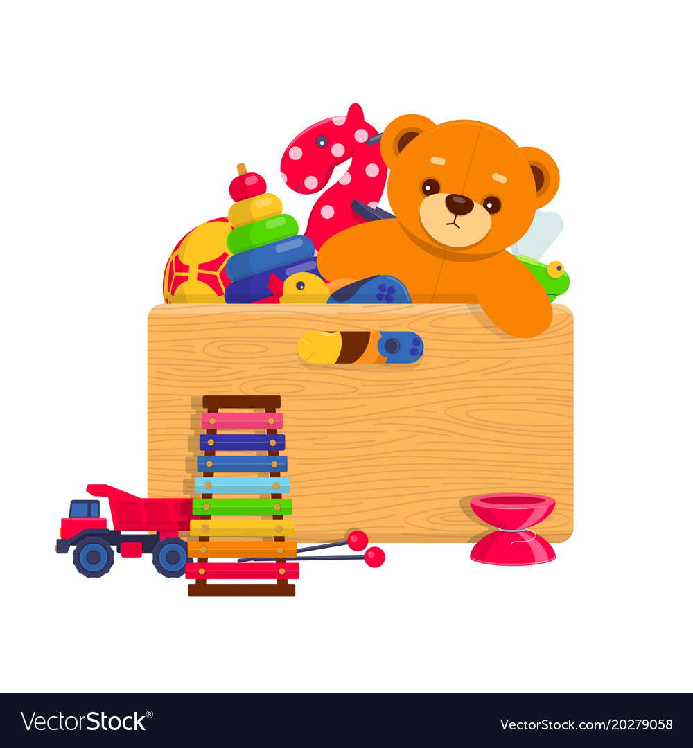 Wooden box full of kids toys Royalty Free Vector Image
