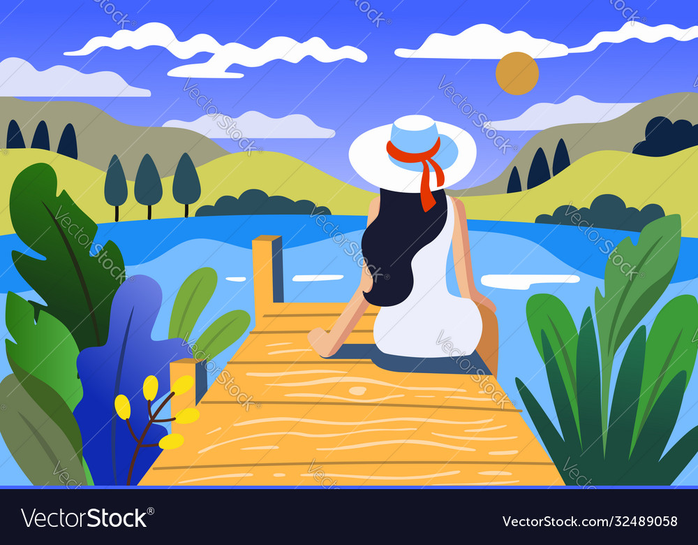Young girl is sitting near lake landscape