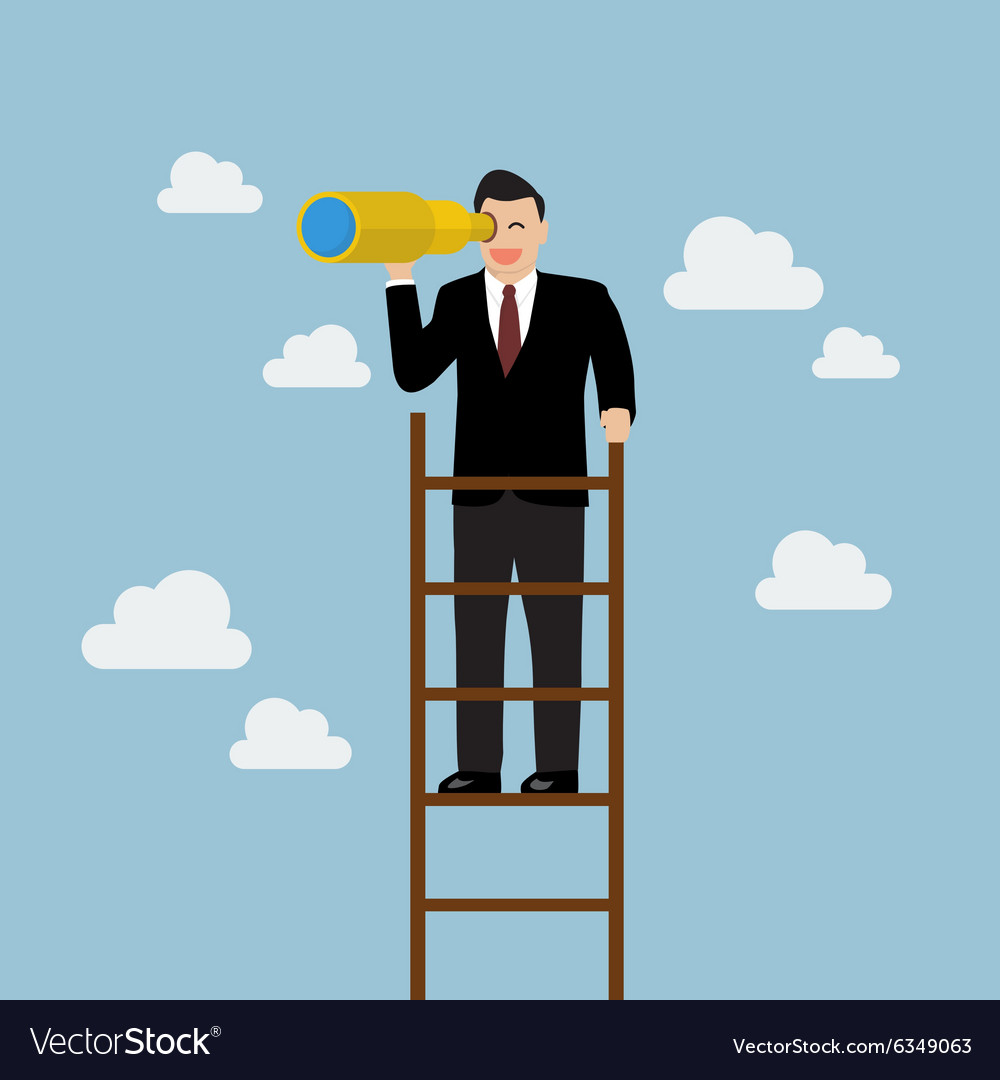 Businessman search in business strategy on the vector image