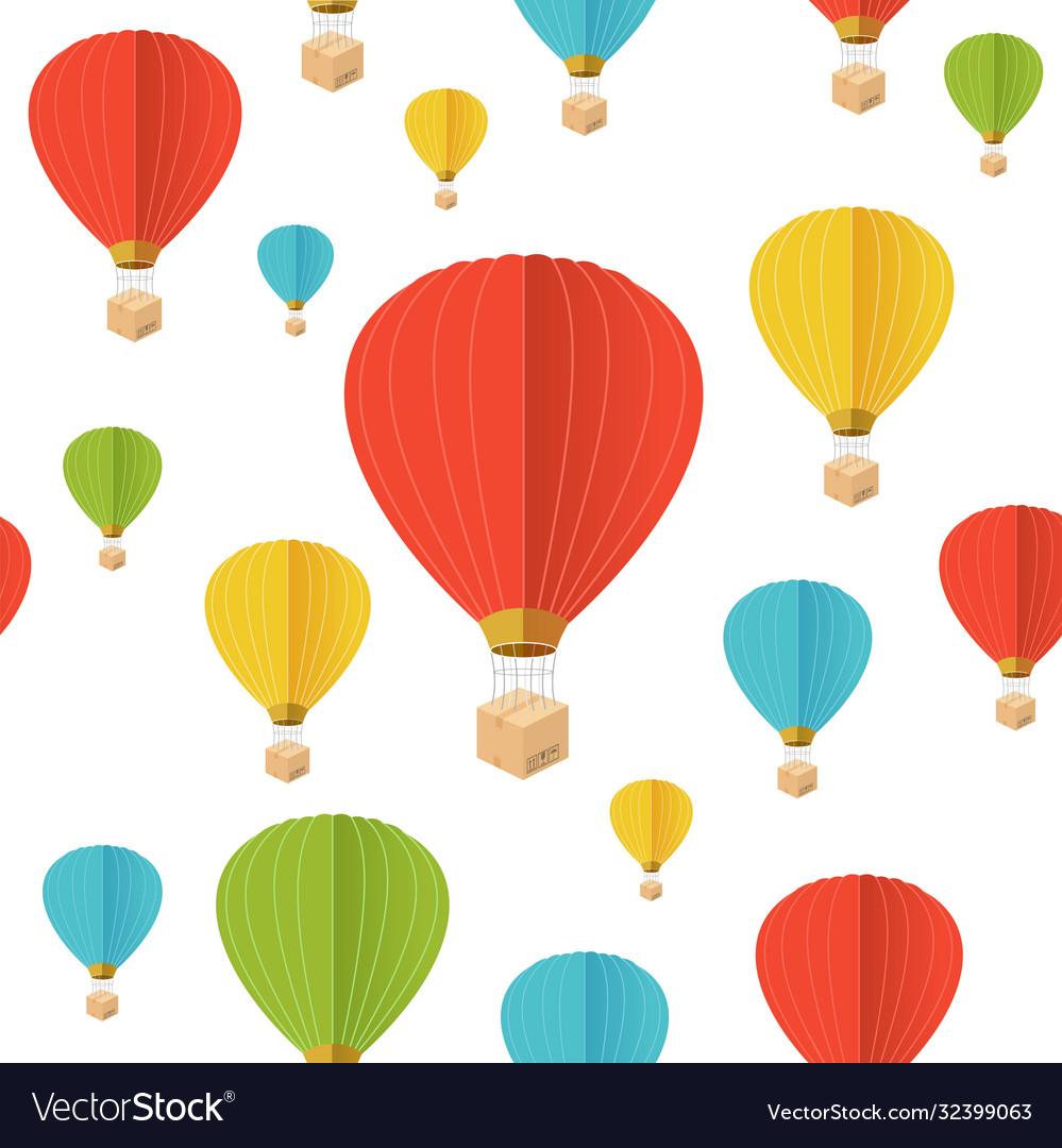 Cartoon color hot air ballon seamless pattern