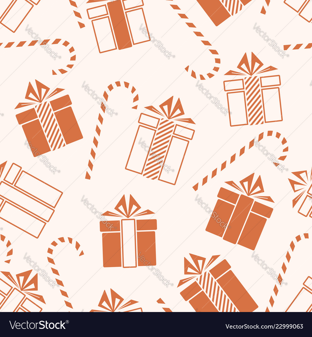 Christmas gifts and candy cane seamless pattern