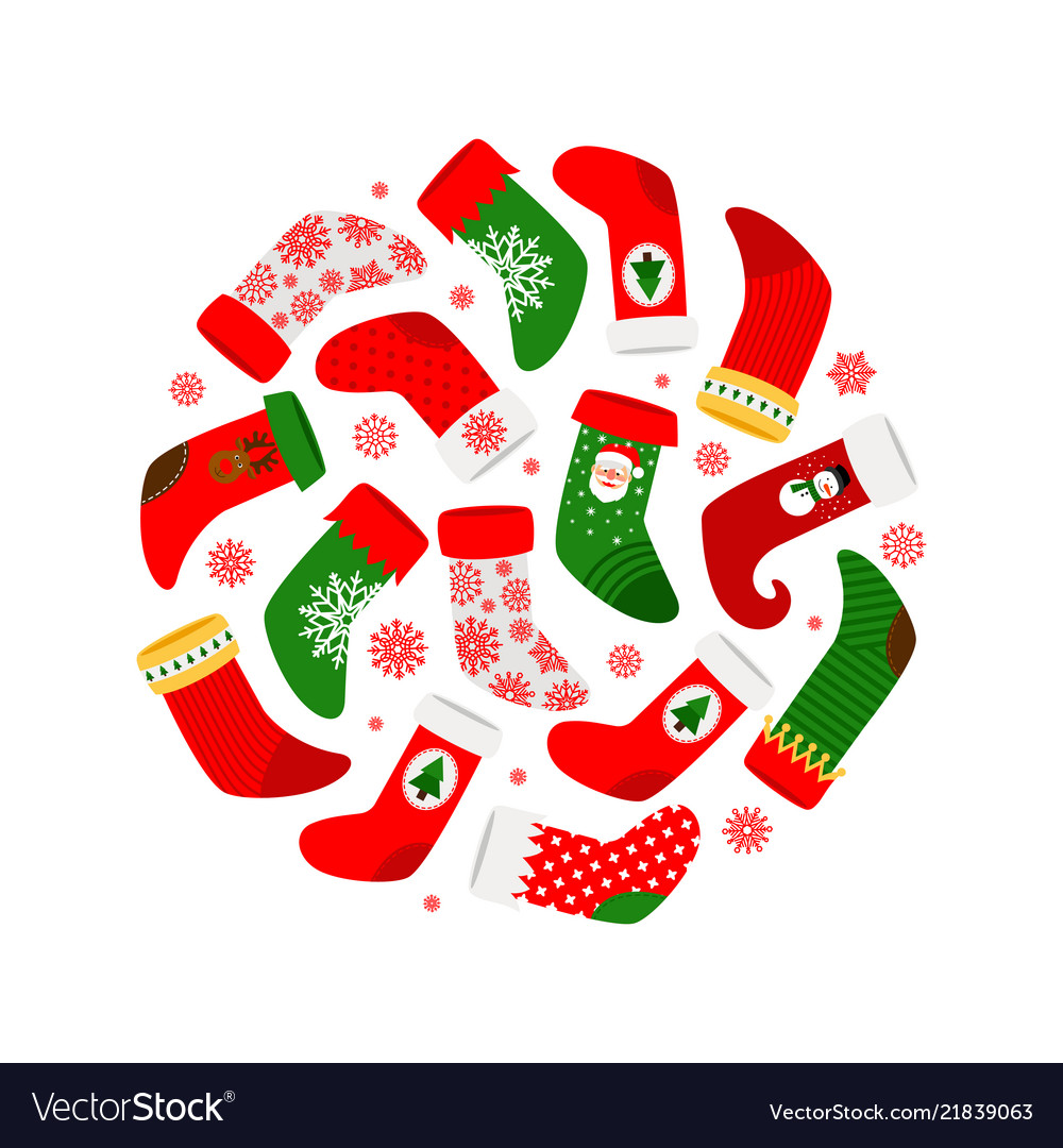 Christmas socks and red snowflakes round banner
