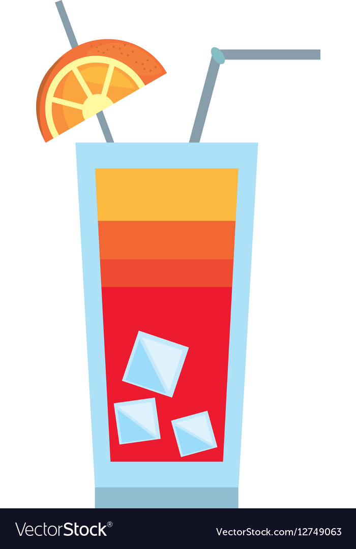 Cocktail sex on the beach orange straw ice vector image