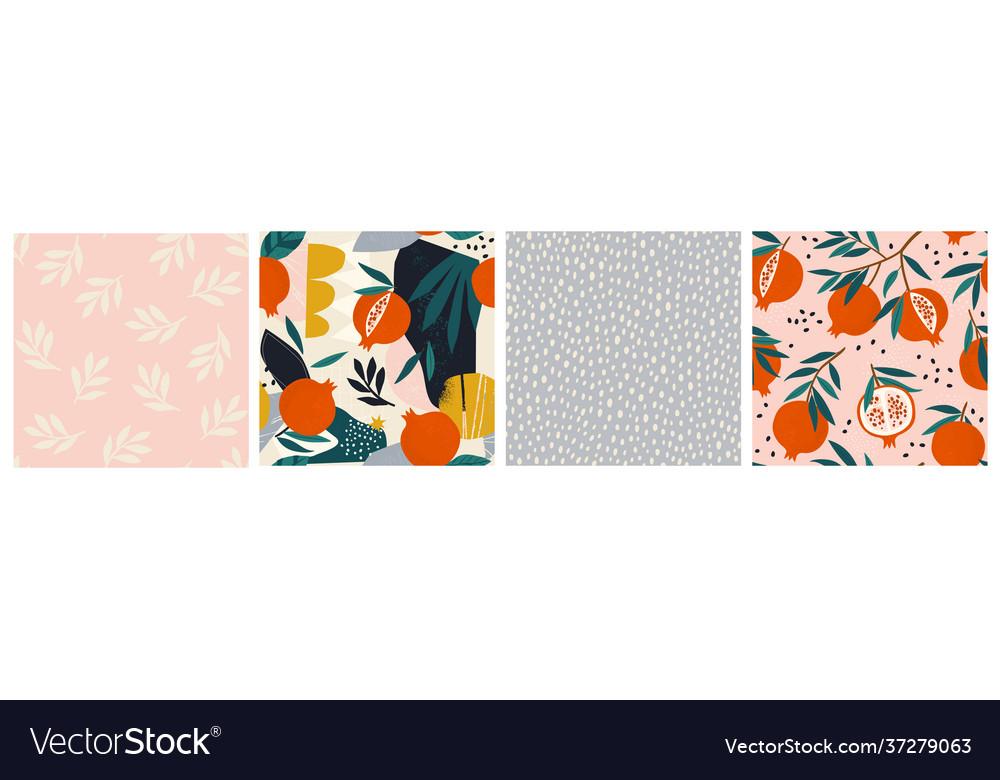Collage contemporary garnet pomegranate floral