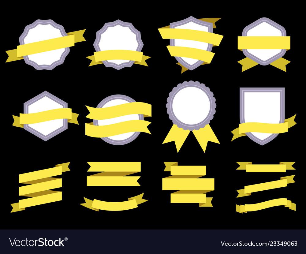 Flat ribbon banner badge genuine frames and