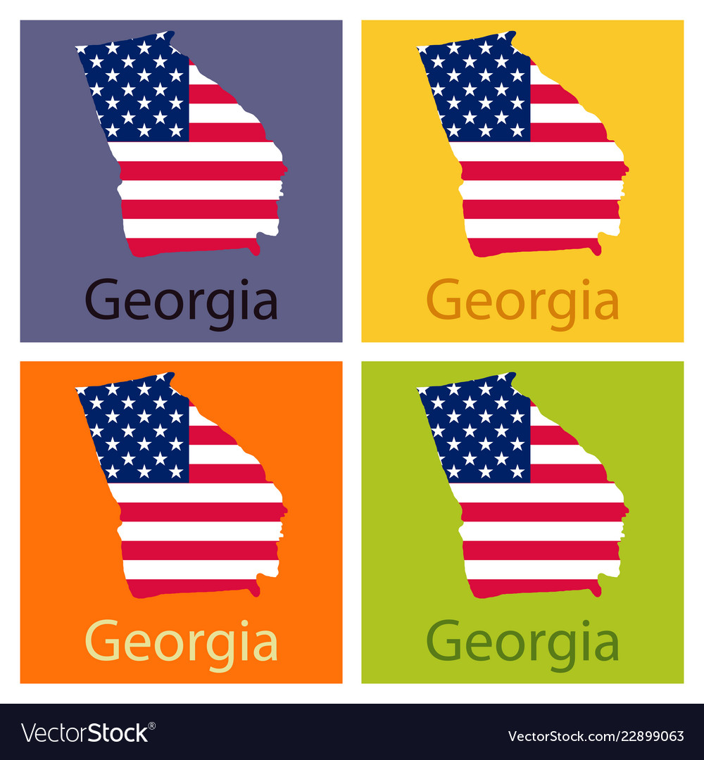 Map Of State Of Georgia Usa.Georgia State Of America With Map Flag Print On