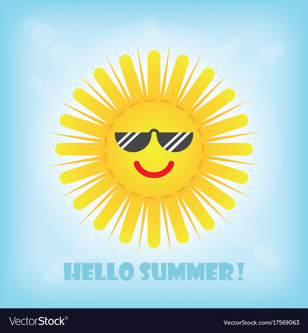 Hello summer smiling yellow sun emoji icon with