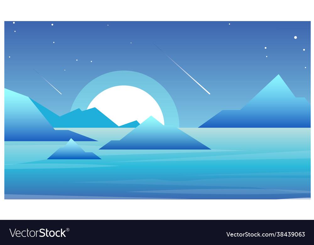 Night landscape with lake