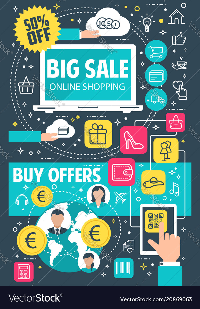 Sale Offer Flat Banner For Online Shopping Concept