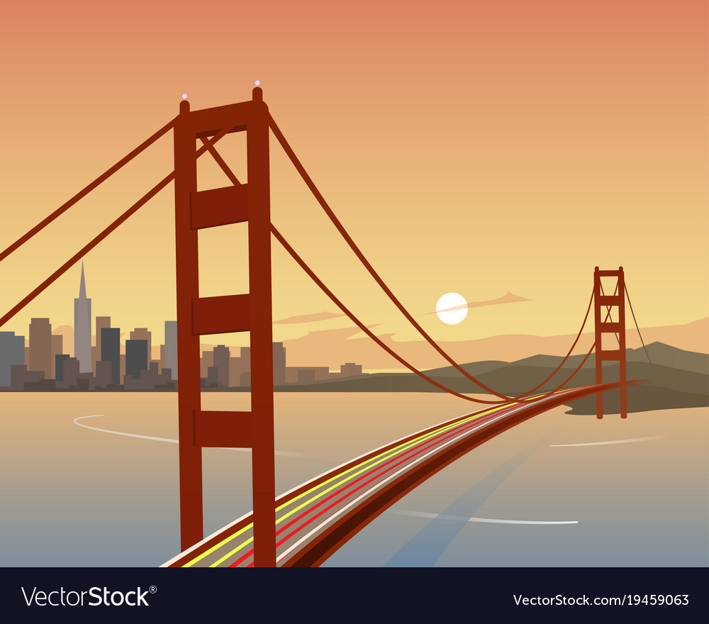 San francisco and golden gate bridge scene