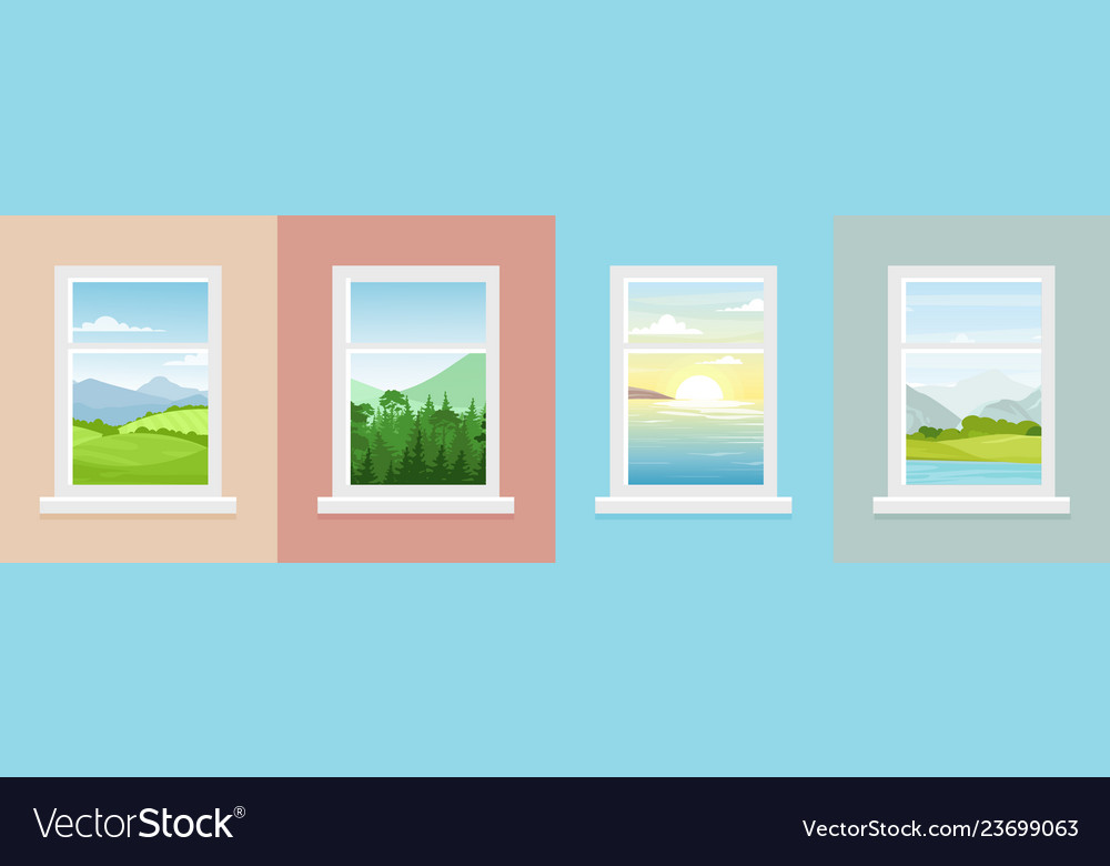Set of windows with different