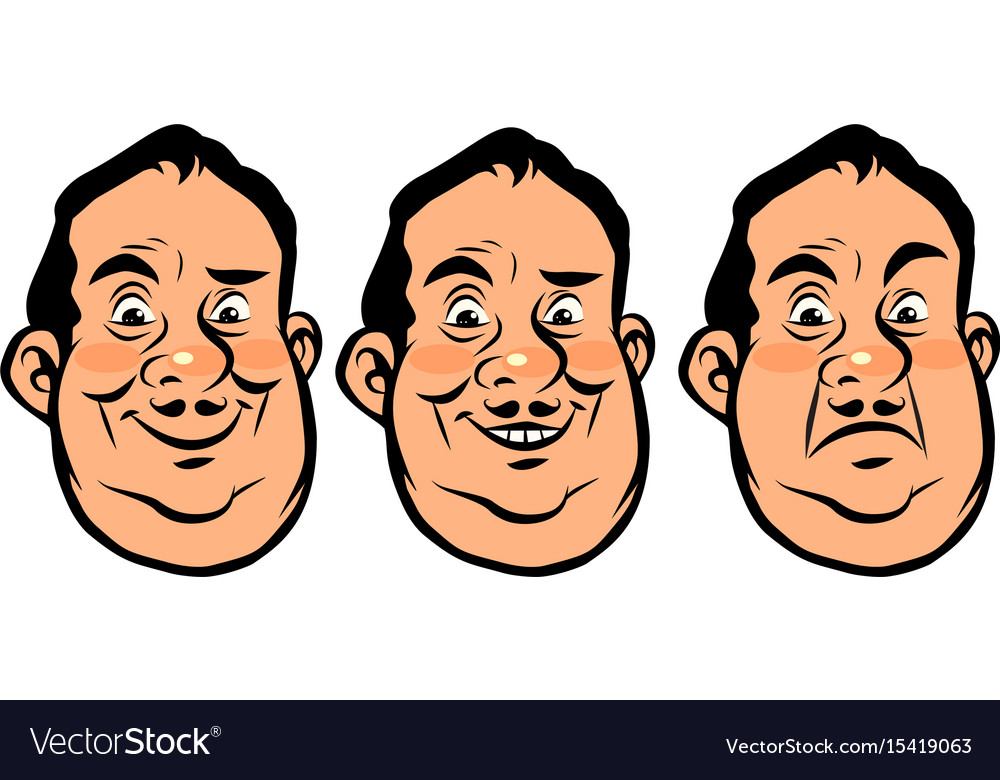 Three emotions head fat vector image
