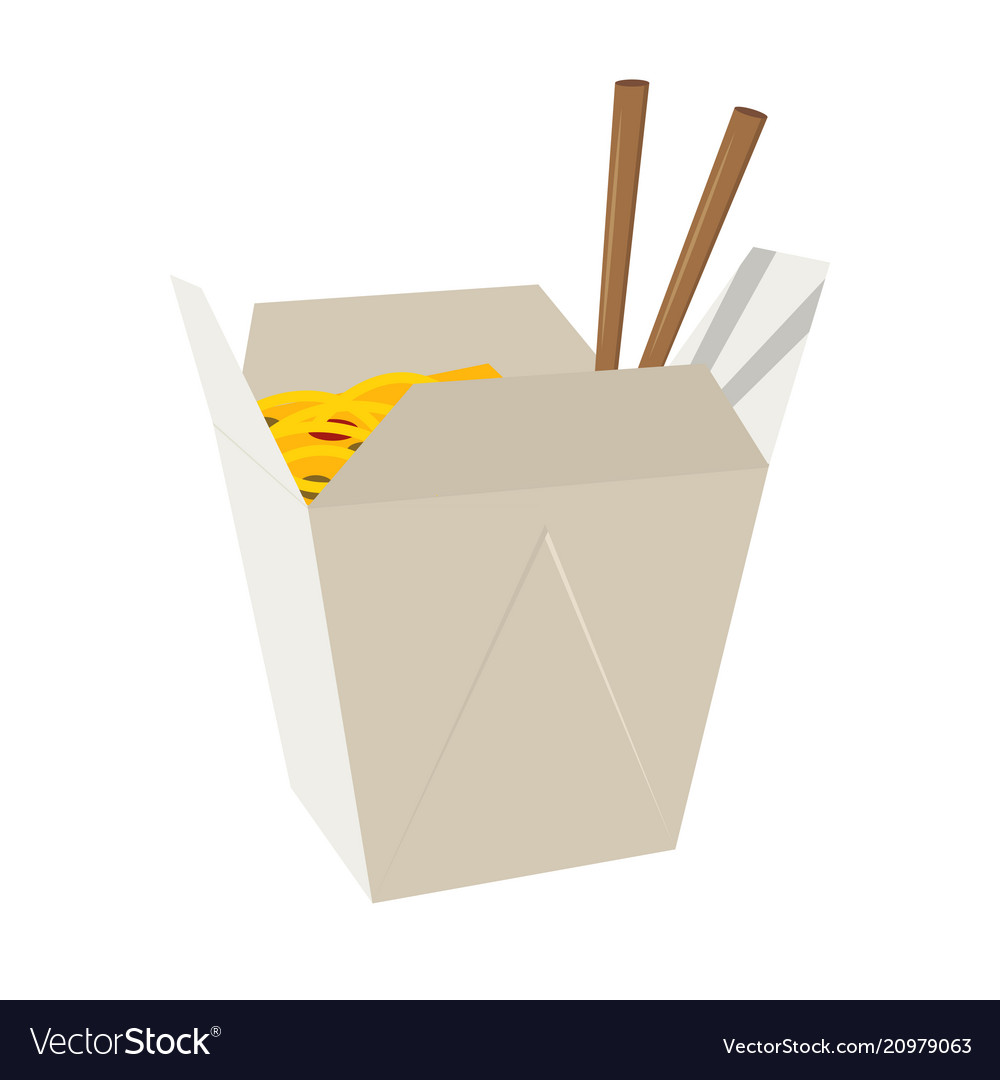 Wok box icon fastfood isolated sweet food and