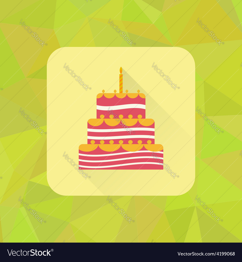 Birthday cake sign icon on polygonal triangle