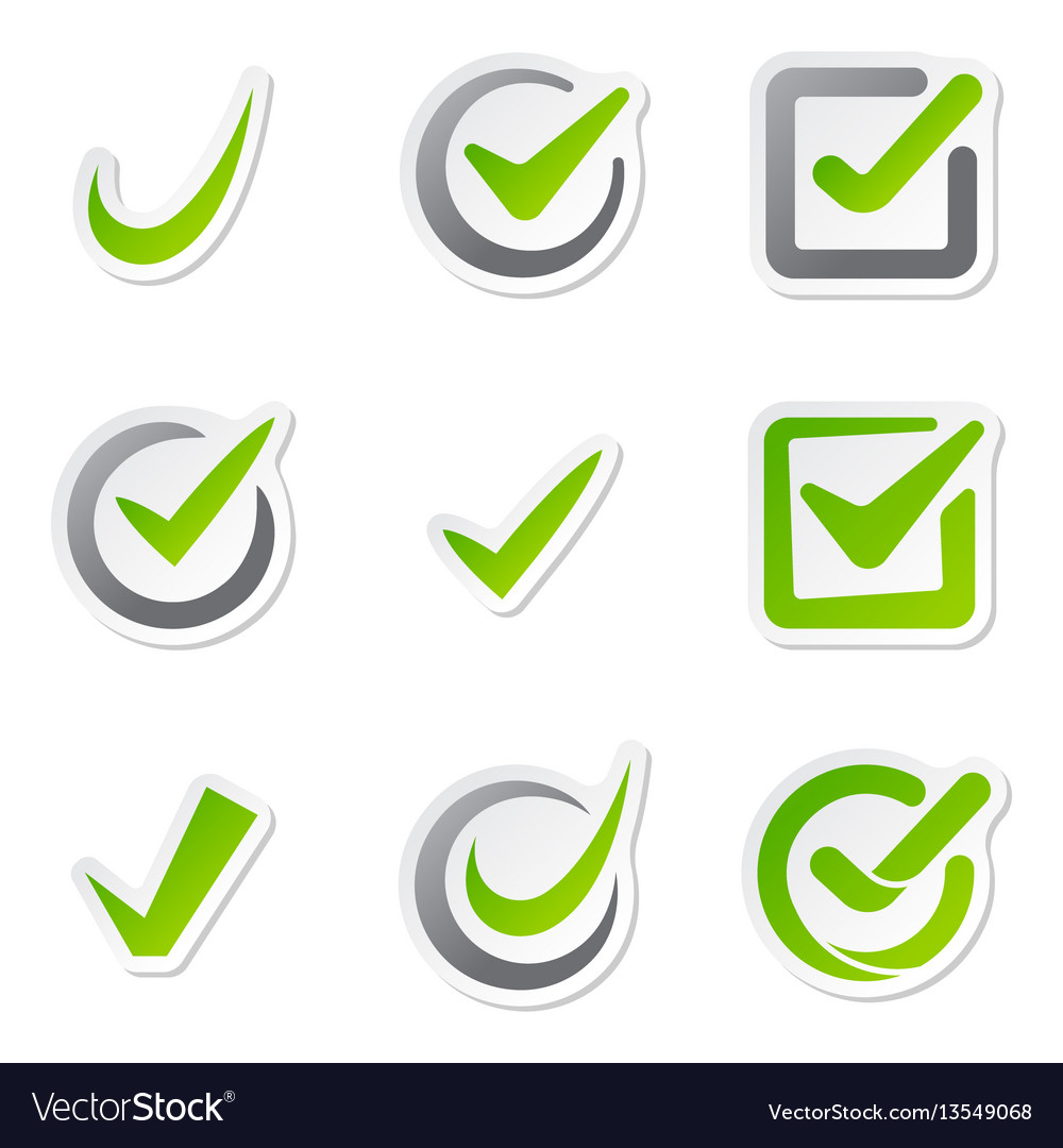 Check box icons of vote mark sign choice yes