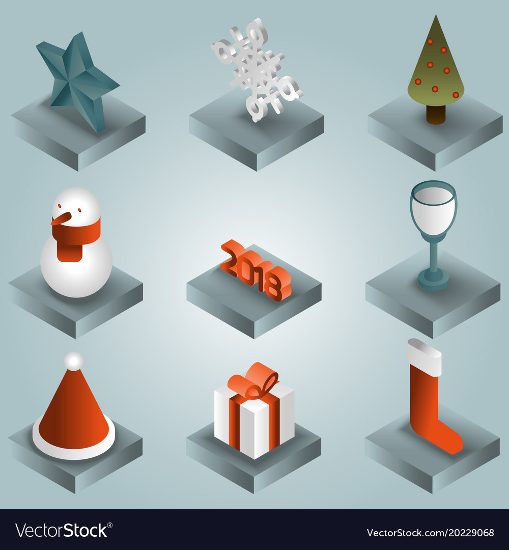 Christmas gradient isometric icons