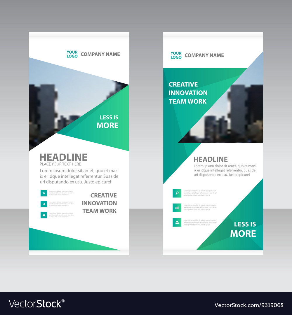 Green triangle business roll up banner templates vector image fbccfo Choice Image