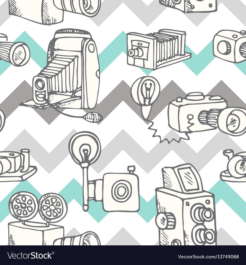Hand-drawn doodle set of retro cameras