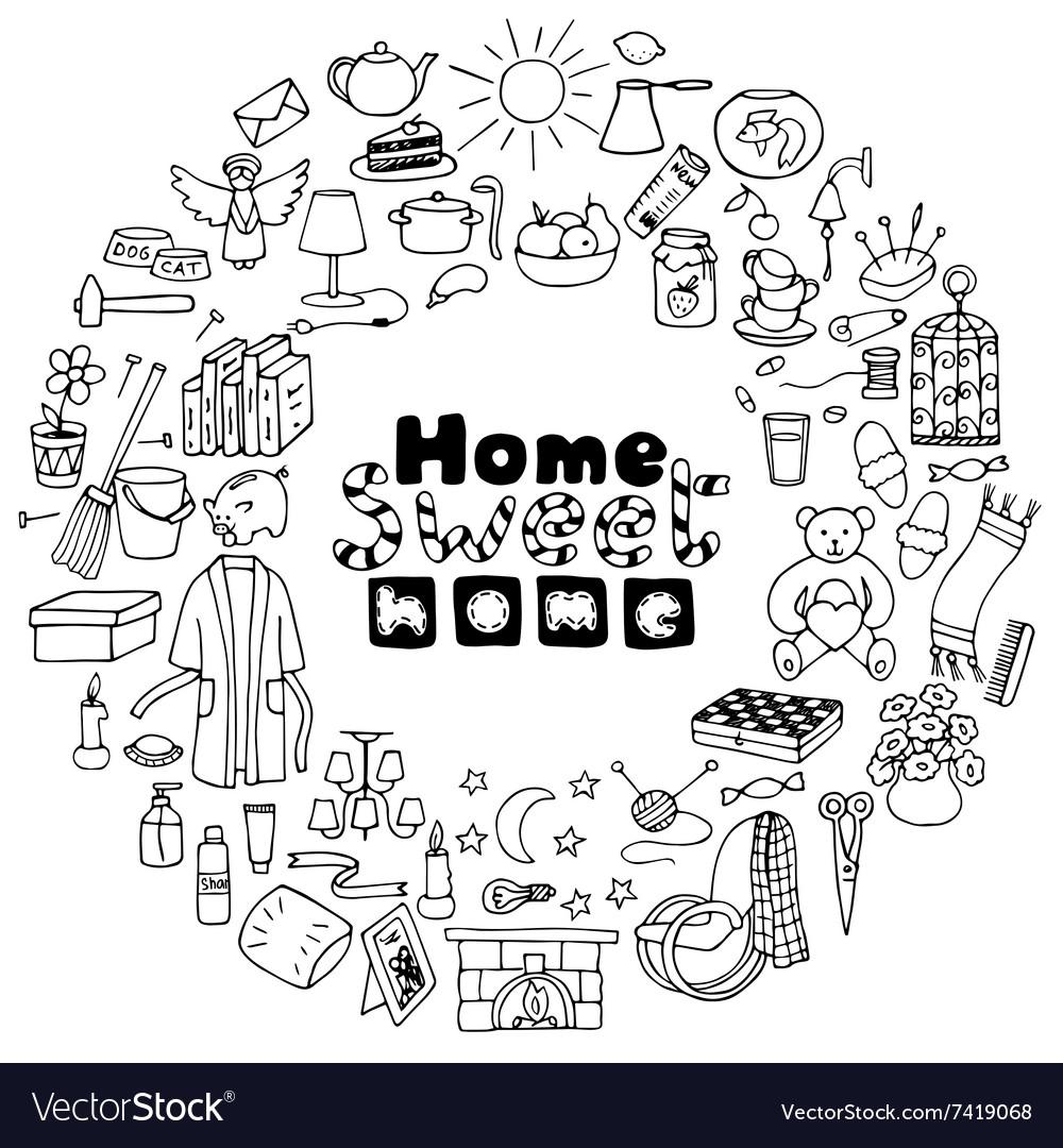 Hand drawn Home set vector image