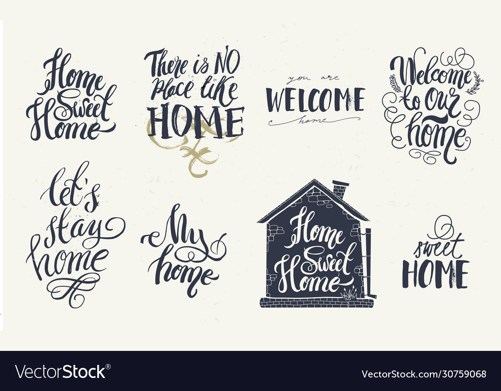 Home and welcome decor quotes signs set isolated