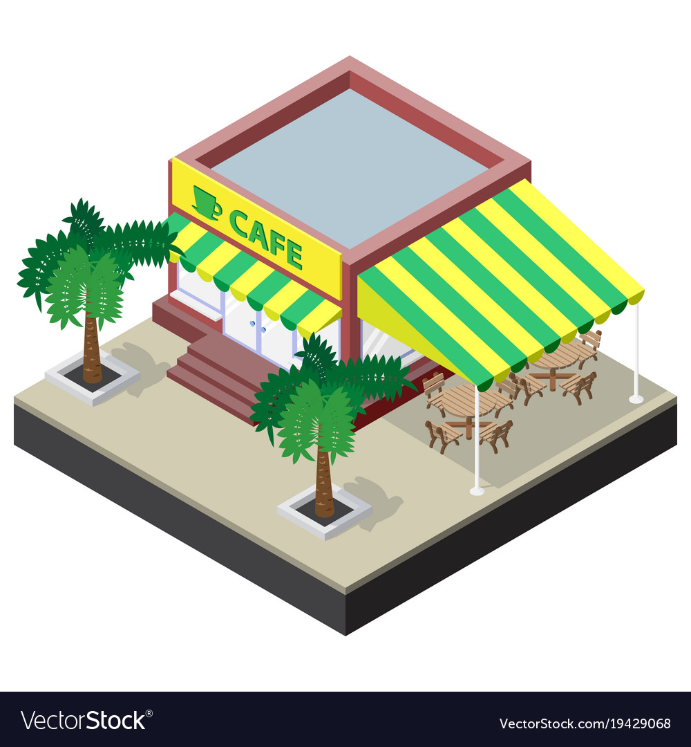 Isometric coffee shop with tables chairs and palm Vector Image