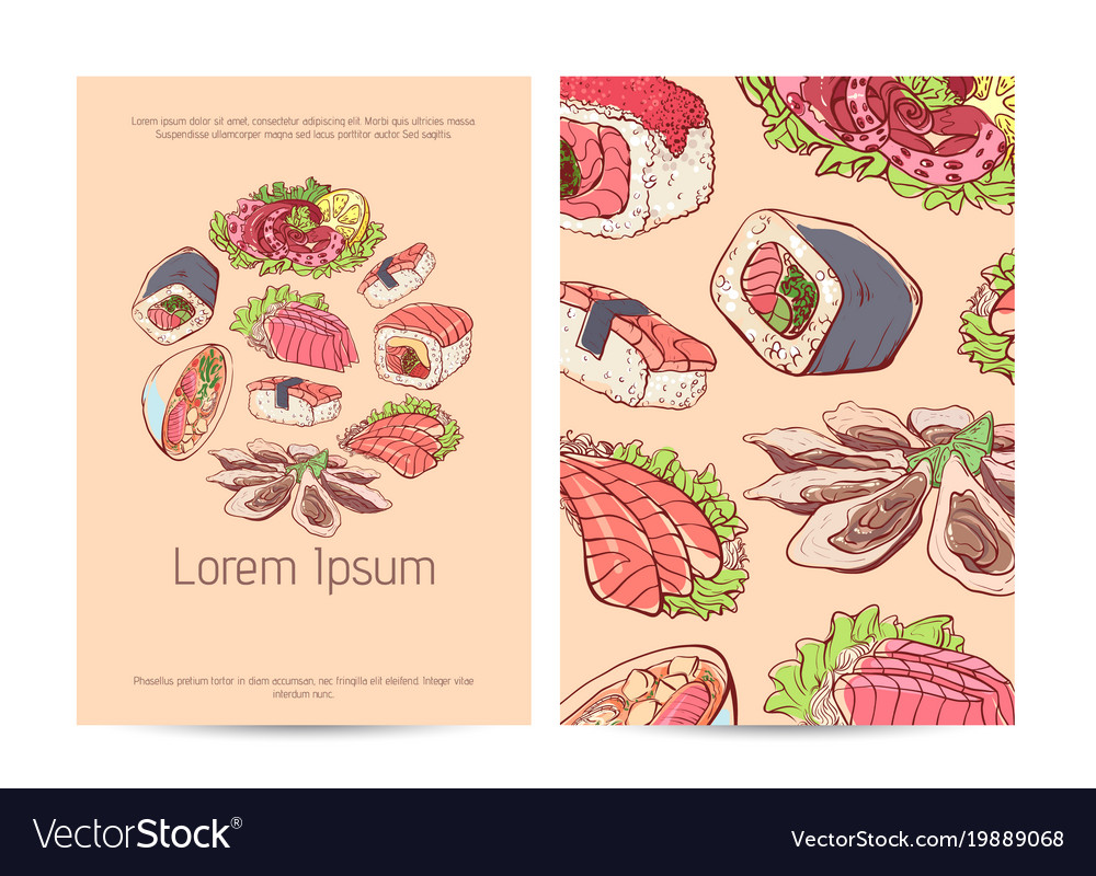 japanese restaurant menu cover with famous dishes vector image