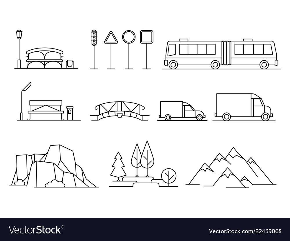 Line transportation landscape isons set