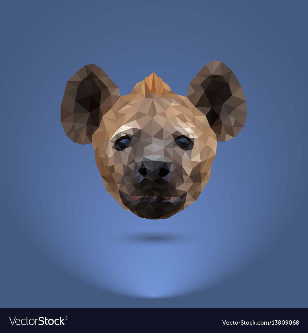 Low-poly predator the head of a hyena suitable