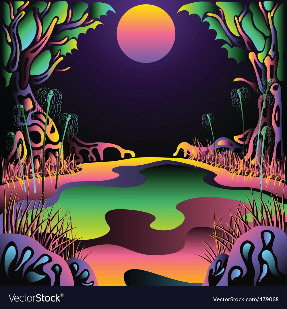 Landscape Illustration Vector Free: Psychedelic Forest Landscape Vector Illustration Vector Image