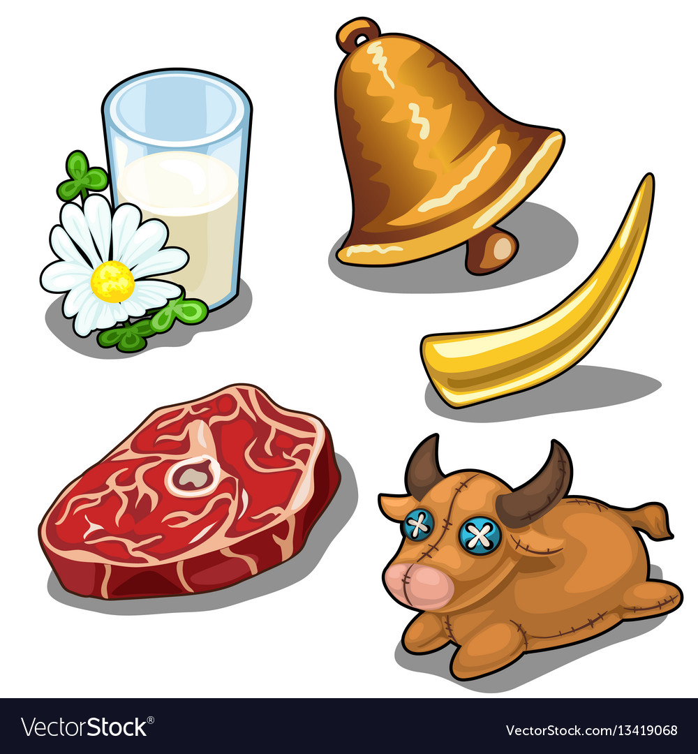 Set of cows and things related to it vector image