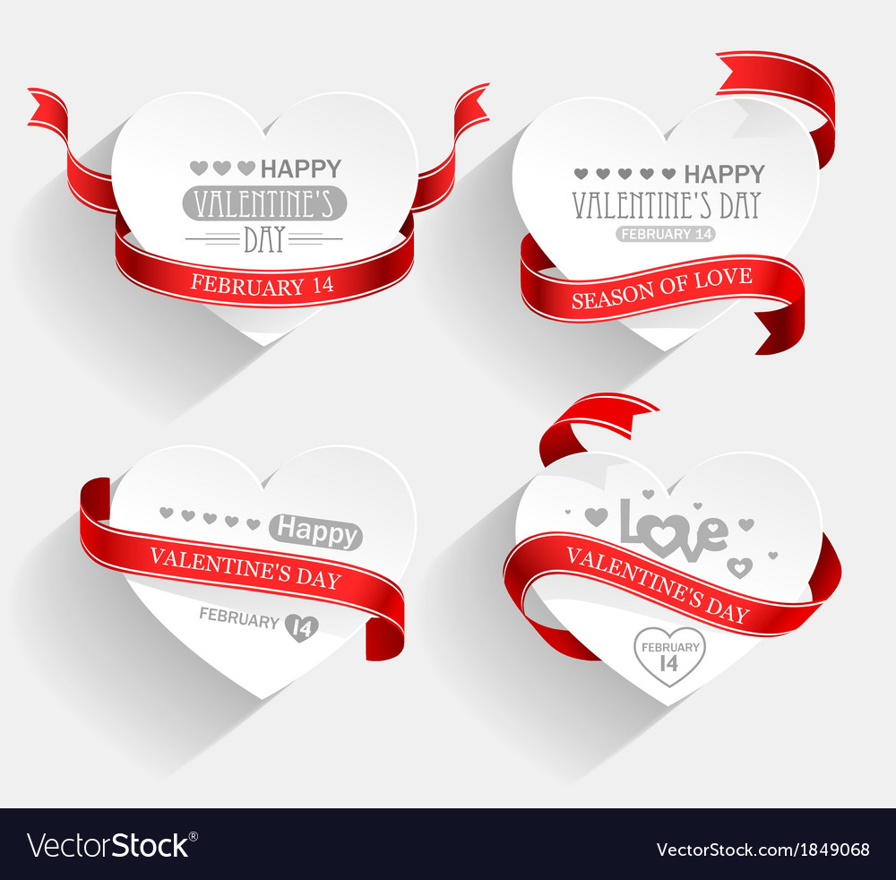Valentines Day emblems vector image