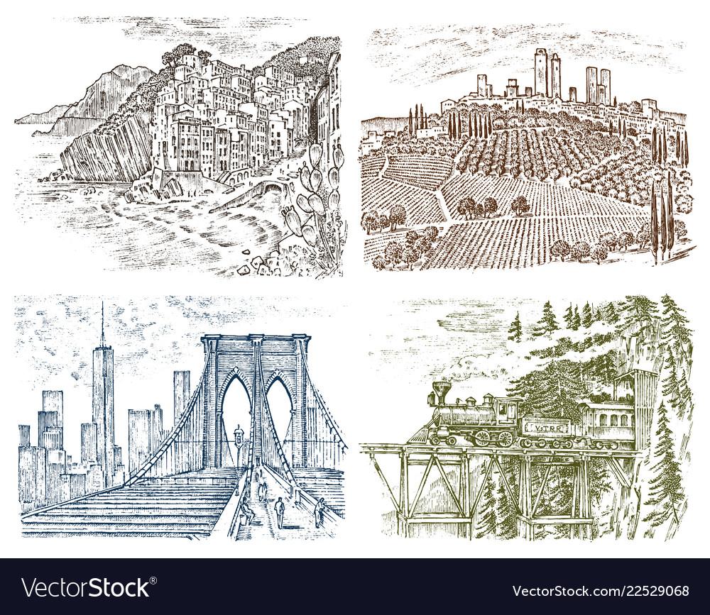 Vintage landscape historical architecture and