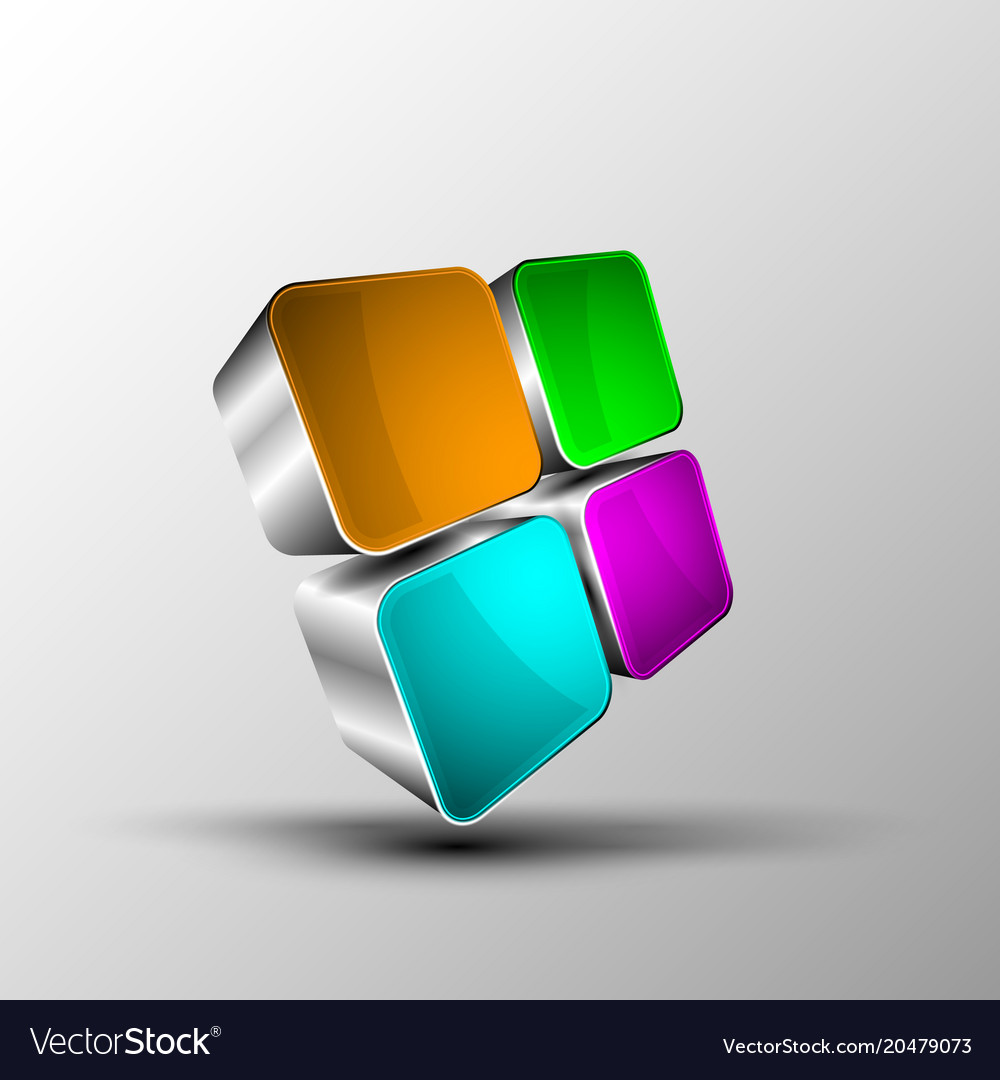 3d cube in perspective vector image