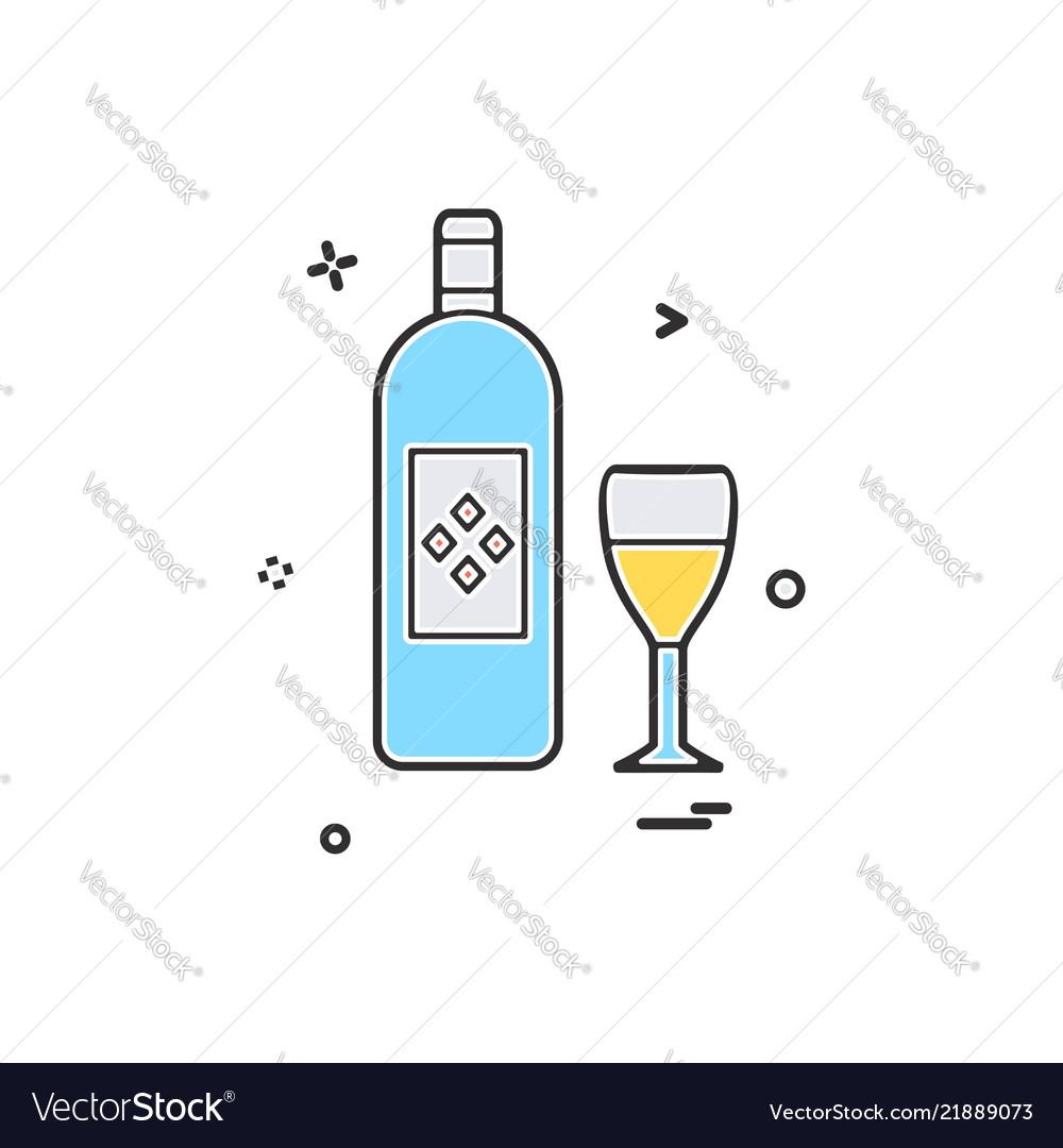 Bottle glass drink icon design