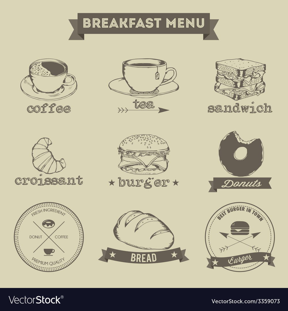 Breakfast menu hand drawing style