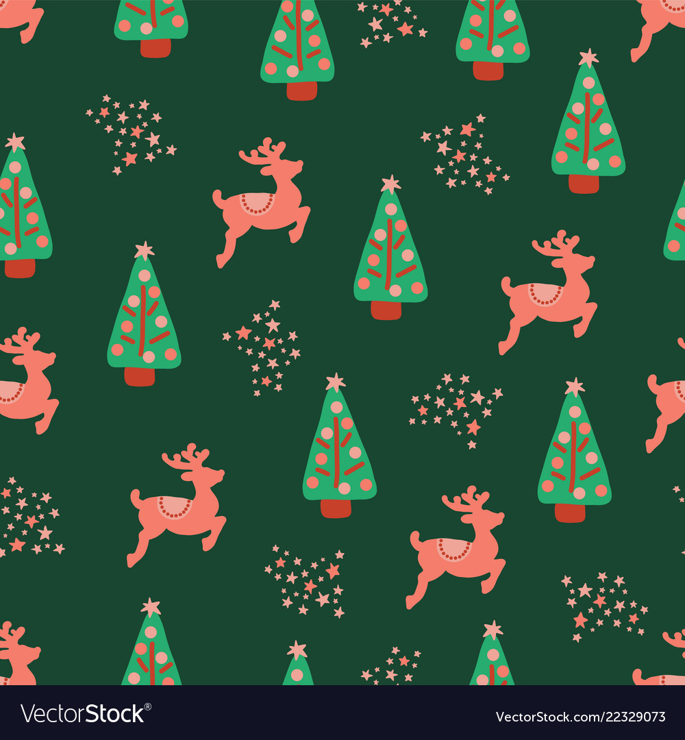 Christmas holidays trees reindeer pattern