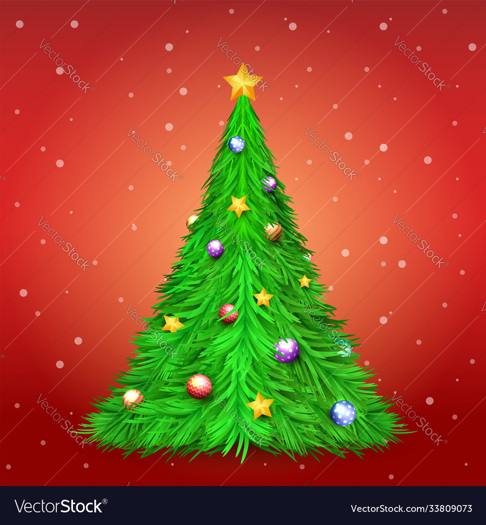 Christmas tree with decoration ball and star