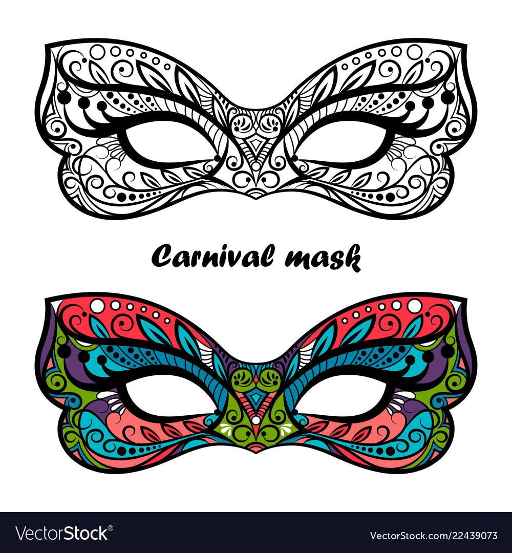 Coloring Page Carnival Masks