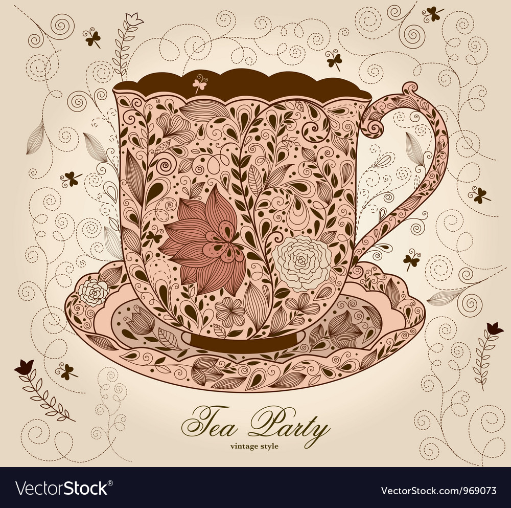 Fancy Tea Cups Vector Image