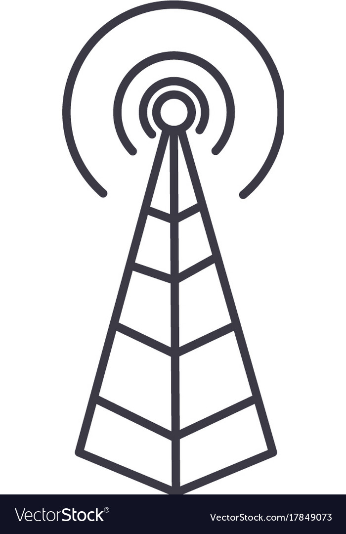 Frequency antennaradio tower line icon