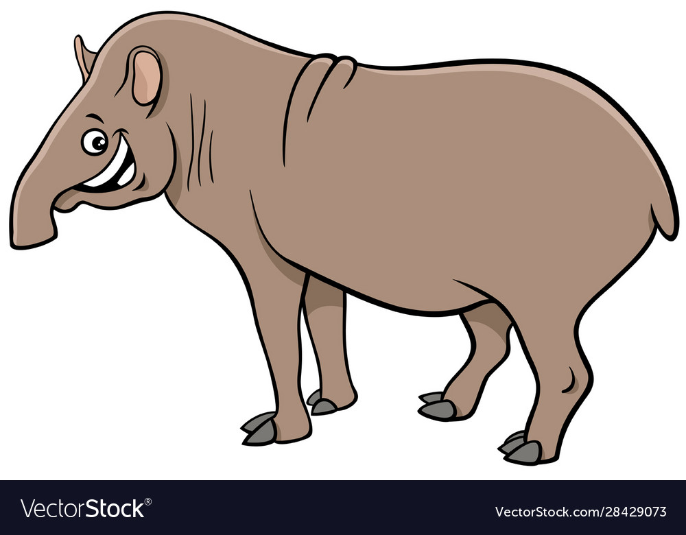 Funny Tapir Cartoon Animal Character Royalty Free Vector