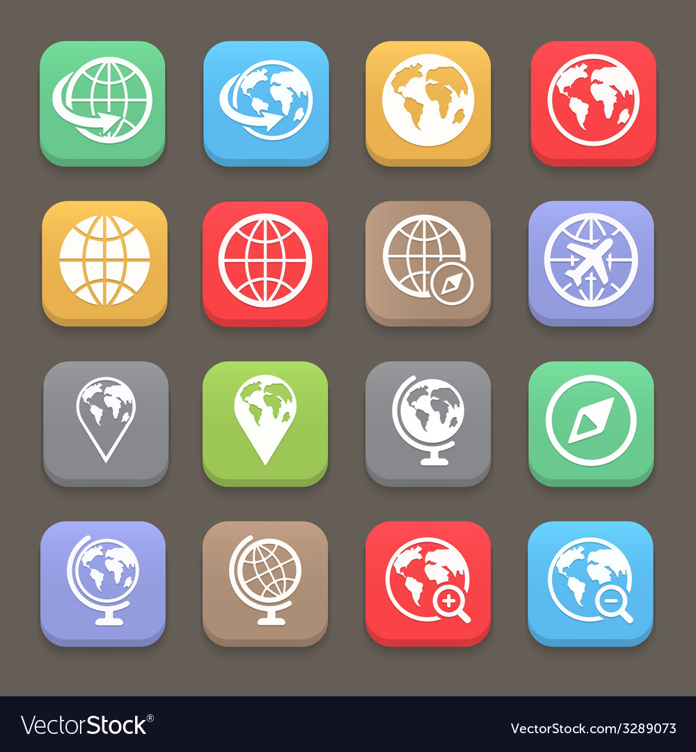 Globe earth flat icon set