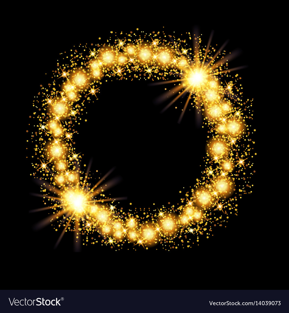 Gold glow glitter circle frame with stars on black